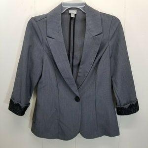 Vanity S Blazer Jacket Gray Black Lace Peplum